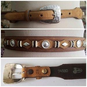 Women's Justin Western Concho Belt Leather sz 28